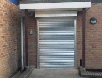Commercial security shutter installation in Aldershot